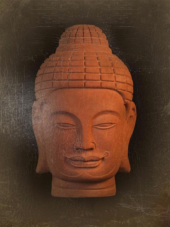 Antique Photograph - antique oil effect Buddha Khmer by Terrell Kaucher