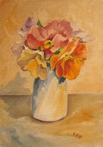 Antique Pansies Painting by Cheryl Pass