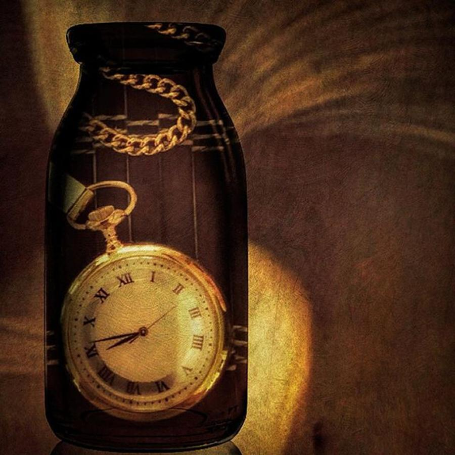 Watch Photograph - Antique Pocket Watch In A Bottle by Susan Candelario