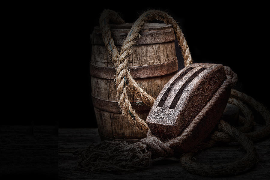 Tackle Photograph - Antique Pulley And Barrel by Tom Mc Nemar