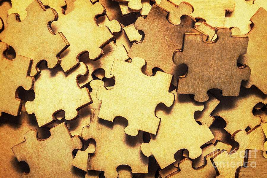 Jigsaw Photograph - Antique Puzzle Of Missing Links by Jorgo Photography - Wall Art Gallery