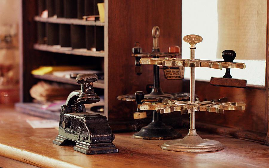 Desk Photograph - Antique Railroad Station Desk by Joseph Skompski - Antique Railroad Station Desk Photograph By Joseph Skompski