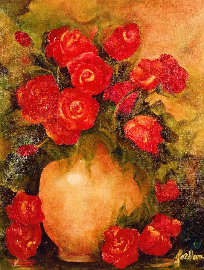 Antique Red Roses by Jordana Sands