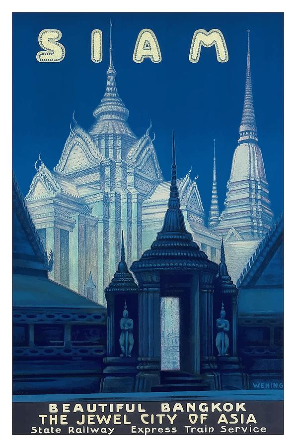 Antique Siam Bangkok Temples Travel Poster Digital Art by Retro Graphics