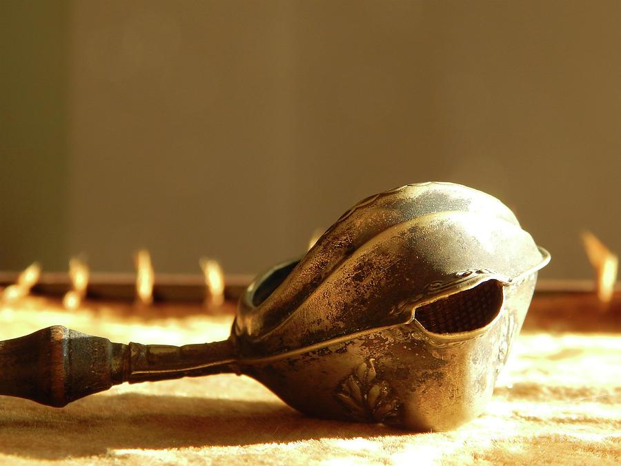 Macro Photograph - Antique Tea Strainer by Phil Perkins