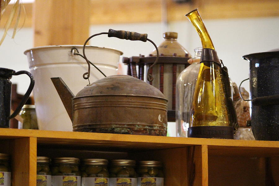 Teakettle Photograph - Antique Teakettle and Amber Bottle by Colleen Cornelius