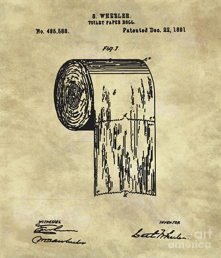 Antique toilet paper roll blueprint patent illustration painting by toilet painting antique toilet paper roll blueprint patent illustration by tina lavoie malvernweather Images
