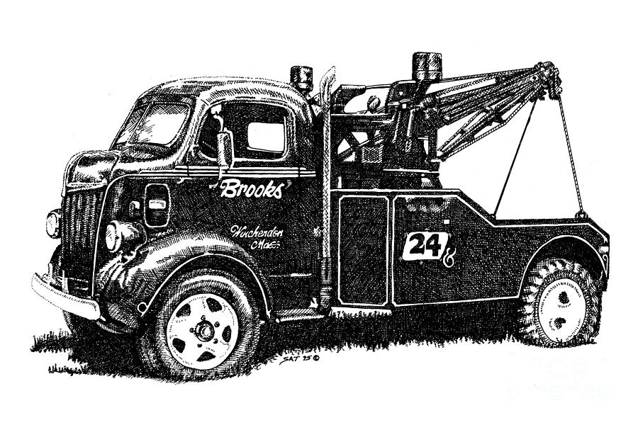 Vehicle Drawing - Antique Tow Truck by Sheryl Unwin