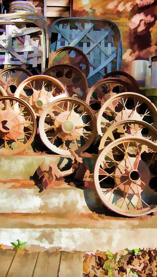 Wheel Photograph - Antique Wagon Wheels And Baskets by Jennifer Stackpole