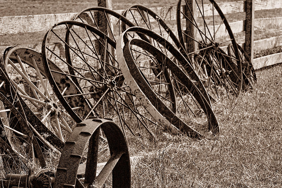 Wheel Photograph - Antique Wagon Wheels II by Tom Mc Nemar
