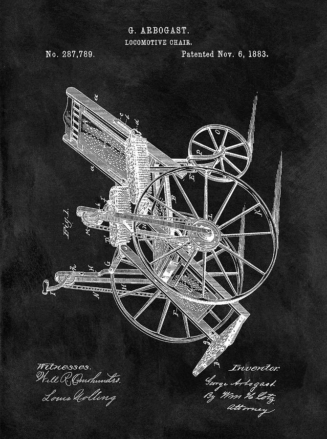 Wheelchair Drawing - Antique Wheelchair Patent by Dan Sproul - Antique Wheelchair Patent Drawing By Dan Sproul