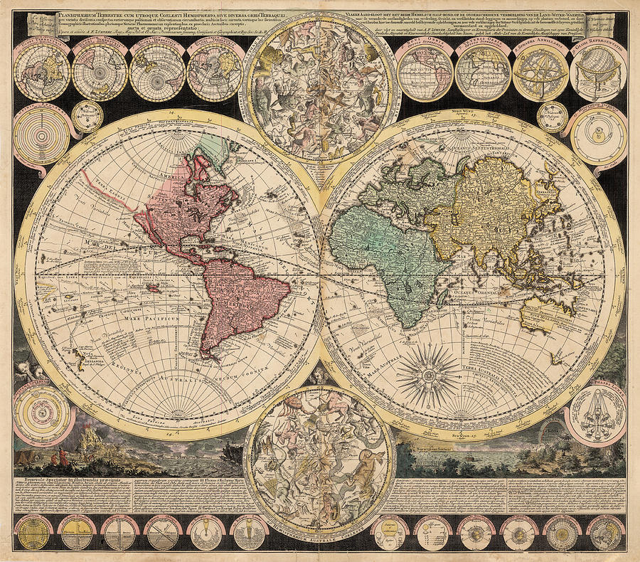 Authentic World Map.Antique World Map Painting By Adam Friedrich Zurner