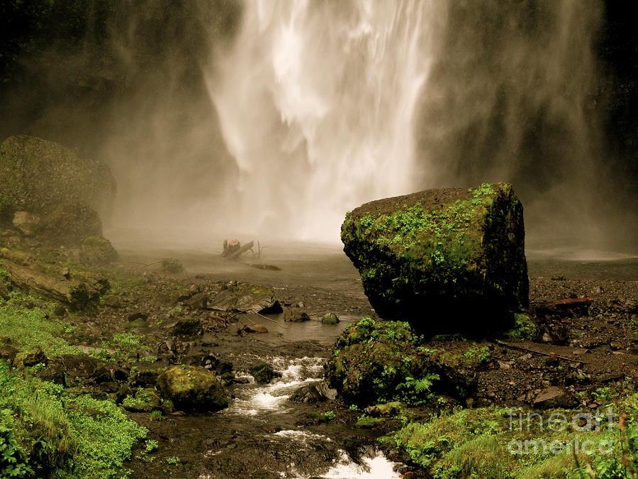 Antique Photograph - Antiqued Falls by PJ  Cloud
