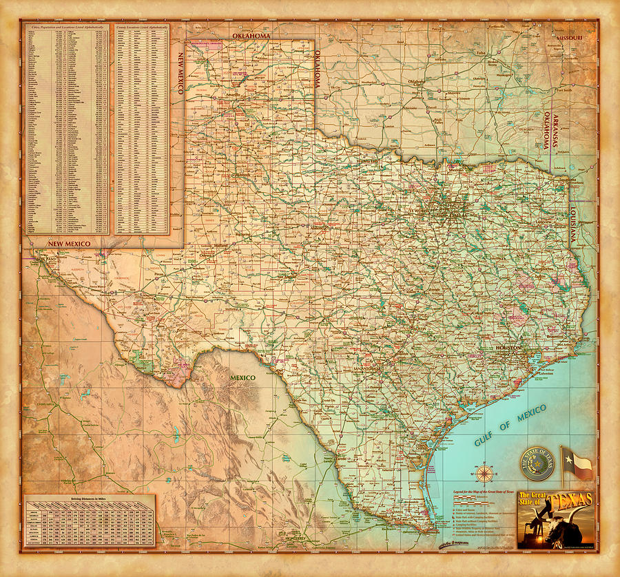 Antiqued Texas Wall Map by Compart by Texas Map Store