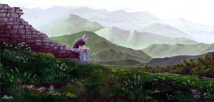 Italy Painting - Antonio Atop La Rocca De Monte Calvo by Albert Puskaric