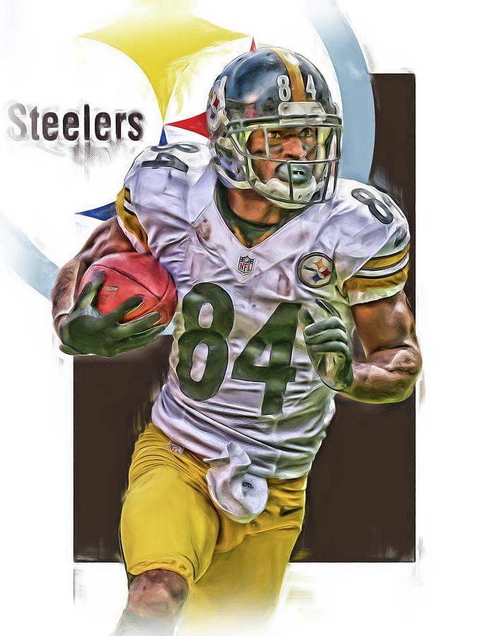 Antonio Brown Mixed Media - Antonio Brown Pittsburgh Steelers Oil Art 4  by Joe Hamilton