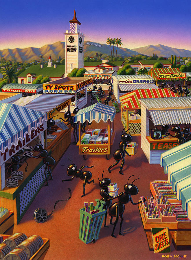 Ants Painting - Ants at the Hollywood Farmers Market by Robin Moline