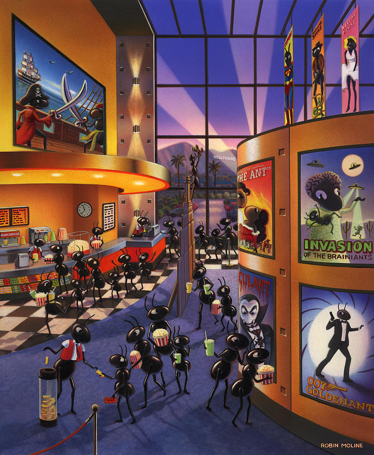 Ants. Ant Farm Characters Painting - Ants At The Movie Theatre by Robin Moline