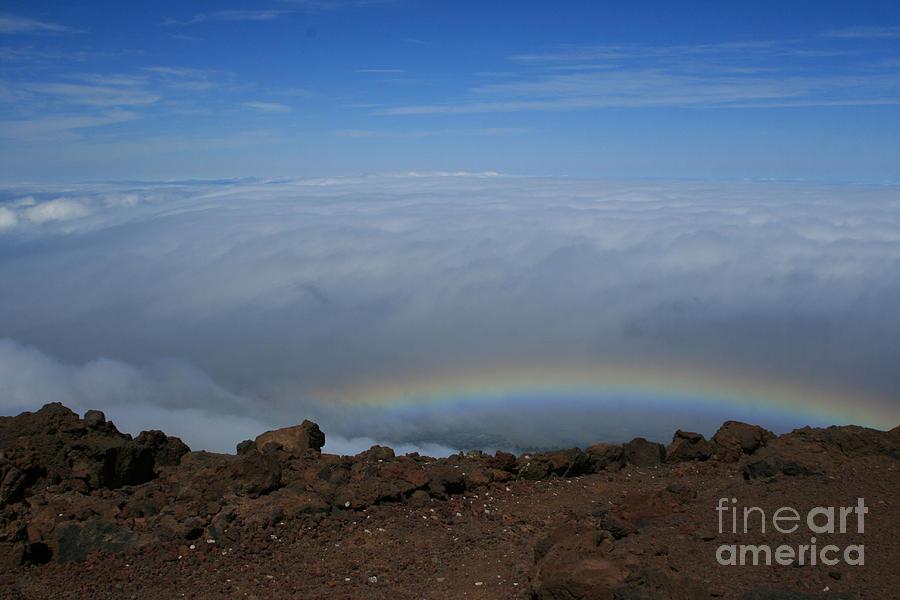 Aloha Photograph - Anuenue - Rainbow At The Ahinahina Ahu Haleakala Sunrise Maui Hawaii by Sharon Mau