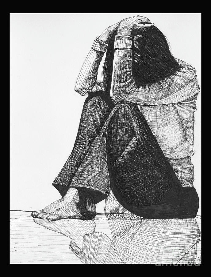 Anxiety Drawing By Jessica Browne White