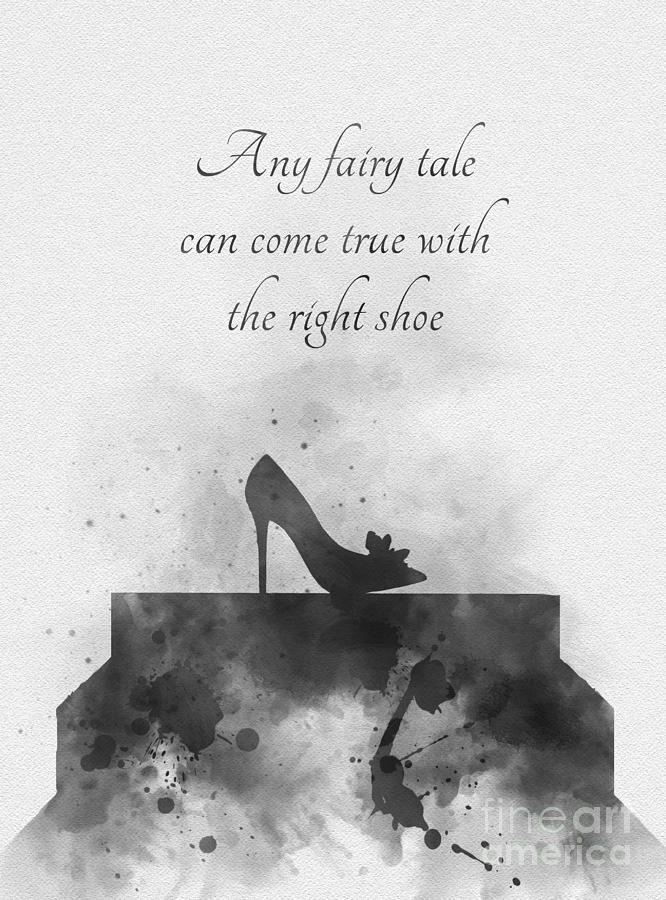 Cinderella Mixed Media - Any Fairy Tale Can Come True Black And White by My Inspiration