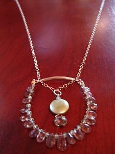 Yellow Gold Jewelry - Anya Delicate Andalusite Briolette Necklace by MIchelle LaCoille