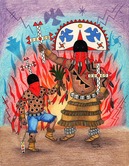 Apache Crown Dancers Mixed Media - Apache Crown Dancers by Alfred Dawahoya