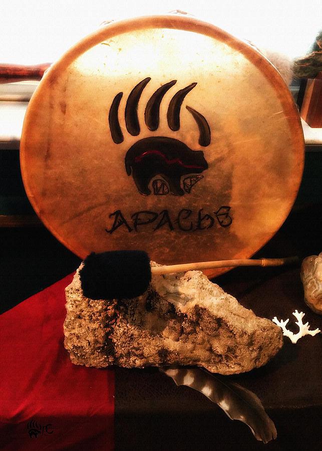 Apache Painting - Apache Drum by Ayasha Loya