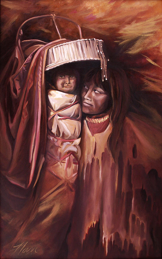Native American Painting - Apache Girl And Papoose by Nancy Griswold