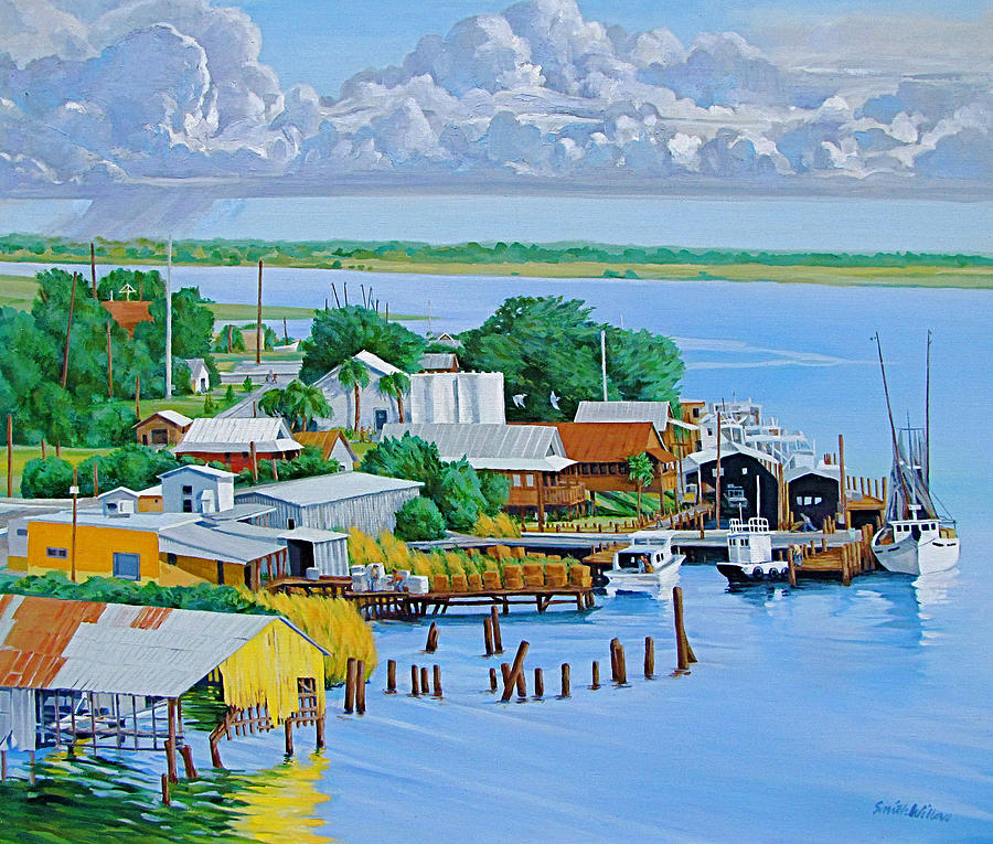 Waterfront Painting - Apalachicola Waterfront by Neal Smith-Willow