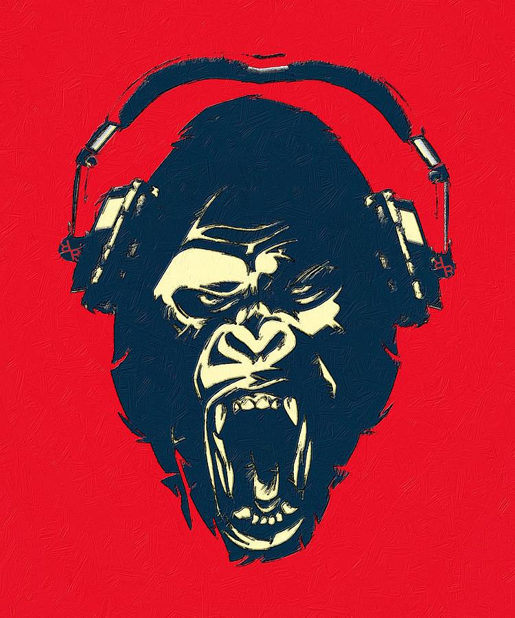 Man Painting - Ape Loves Music With Headphones by Tony Rubino