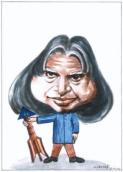 Caricature Painting - Apj Kalam by Venkat Meruvu