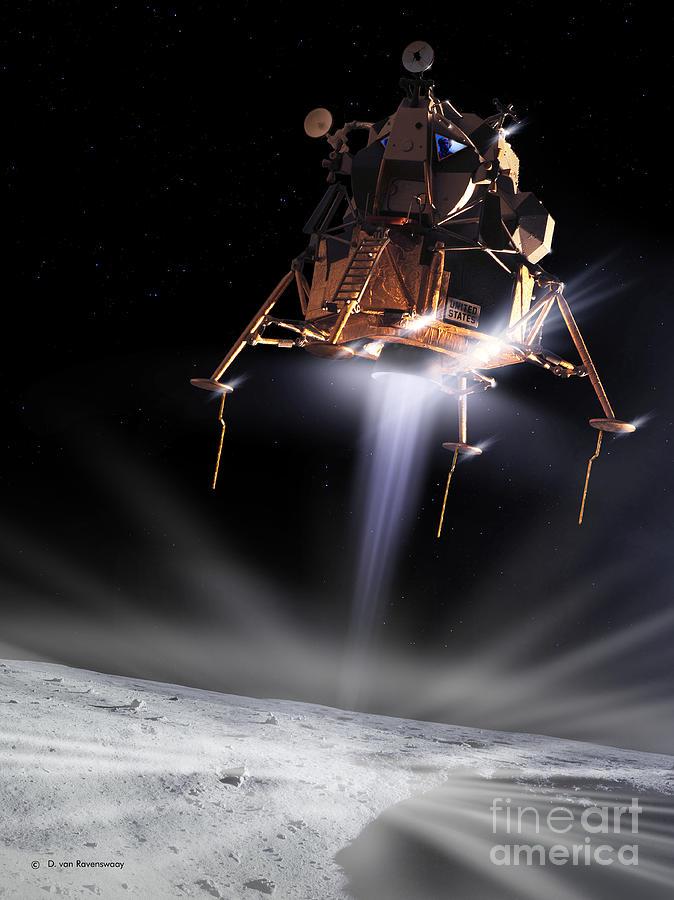 1960s Digital Art - Apollo 11 Moon Landing by Detlev Van Ravenswaay and Photo Researchers