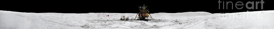 Moon Buggy Photograph - Apollo 16 Landing Site In The Lunar by Stocktrek Images