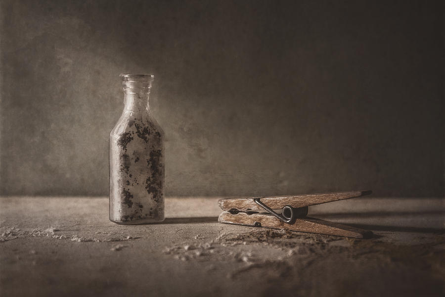 Apothecary Bottle And Clothes Pin Photograph