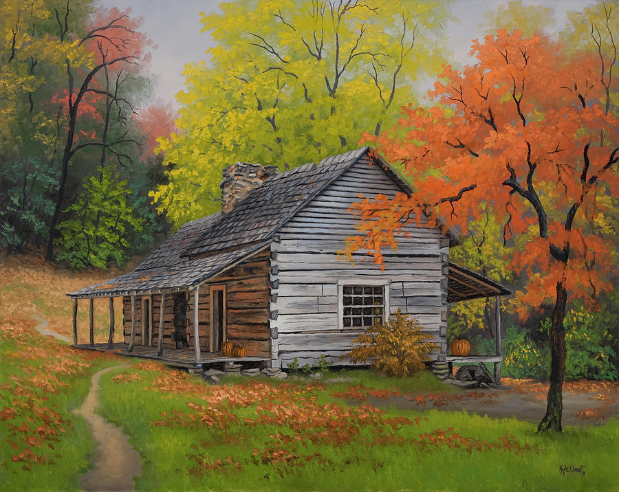 Appalachian retreat autumn painting by kyle wood for Appalachian mountain cabins
