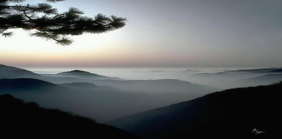 Art Print Photograph - Appalachian Smoky Mountain Fog Panoramic Misty Dawn  Sunrise Sunset Scene Picture Decor by John Samsen