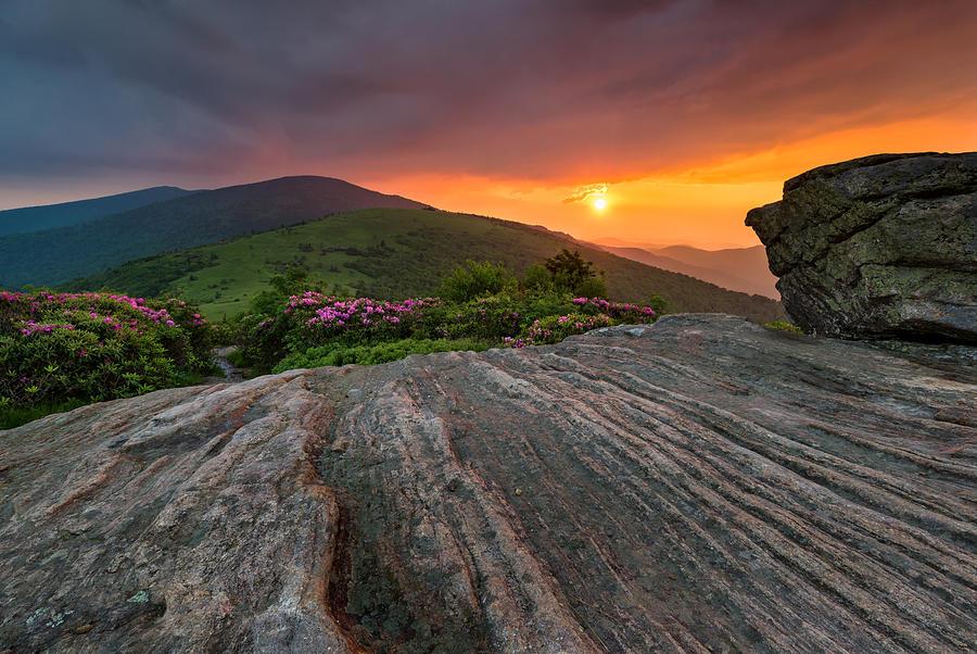 Appalachia Photograph - Appalachian Trail Roan Highlands Jane Bald Sunset Landscape by Mark VanDyke