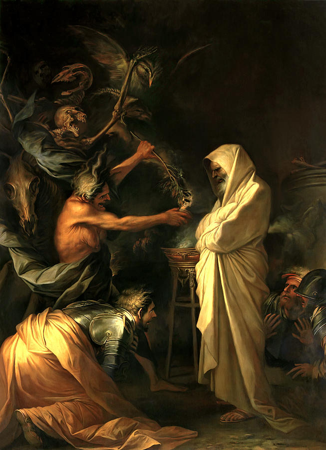 Salvator Rosa Painting - Apparition Of The Spirit Of Samuel To Saul by Salvator Rosa