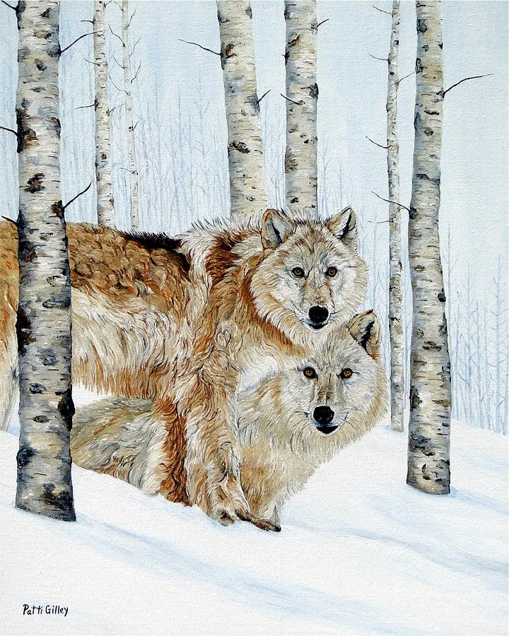Grey Wolves Painting - Appearing Like A Ghost by Patti Gilley