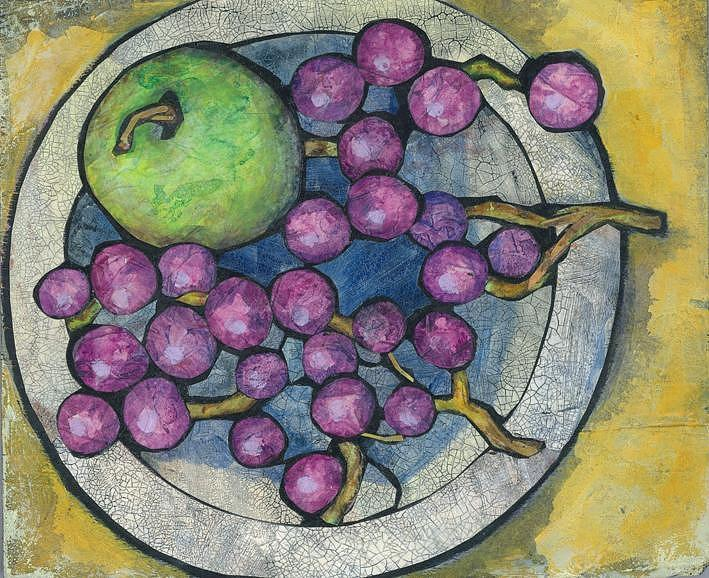 Apple Painting - Apple And Grapes by Barbara Nye