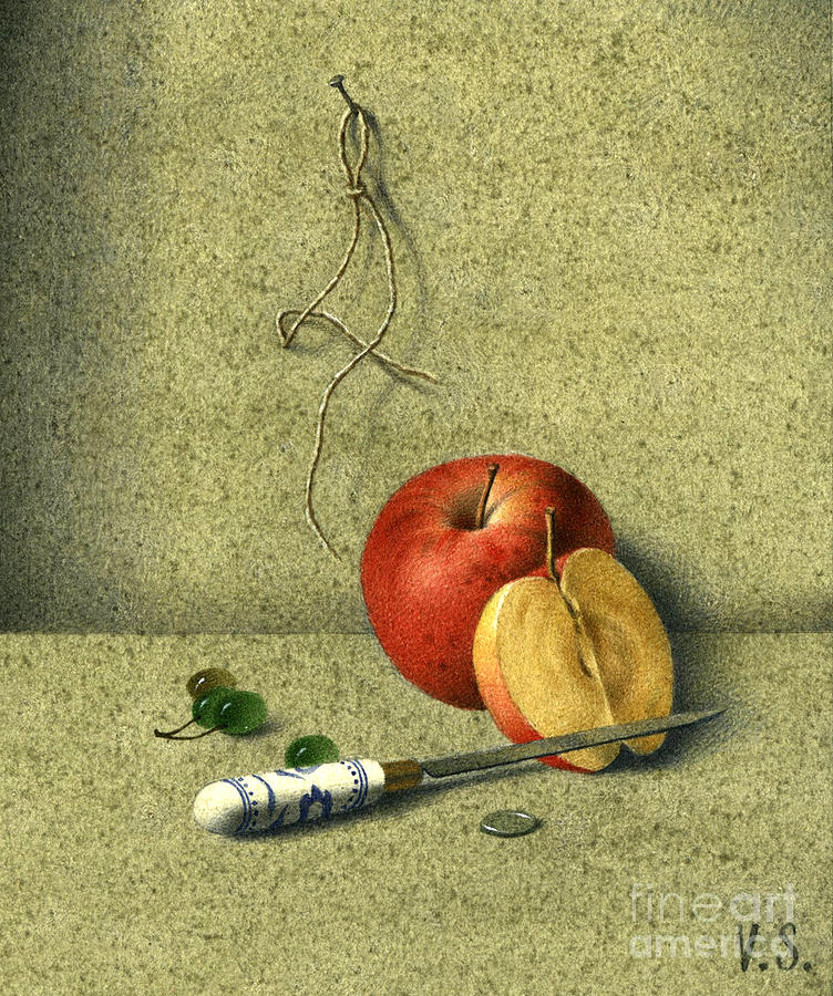 Still Life Painting - Apple And Knife by Victor Sap