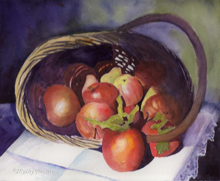 Watercolor Painting - Apple Basket by Kathy Nesseth