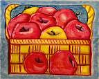 Apples Relief - Apple Basket Wood Relief by Suzanne Berton