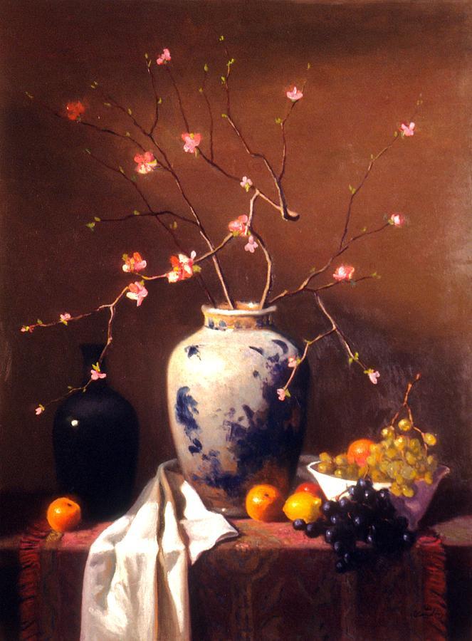 Still Life Painting - Apple Blossoms by David Olander