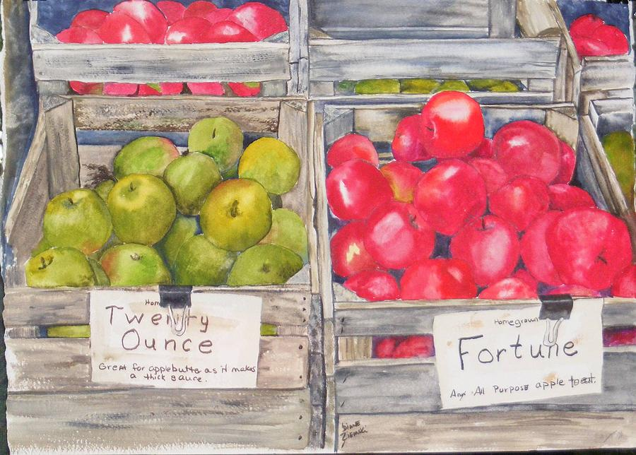 Apple Crate Painting by Diane Ziemski