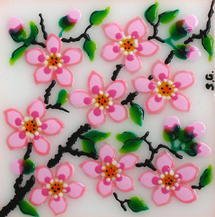 Glass Paintings Painting - Apple Flower by Gabriela Stavar