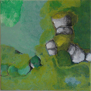 Abstract Landscape Painting - Apple Green by Judith Grunberger
