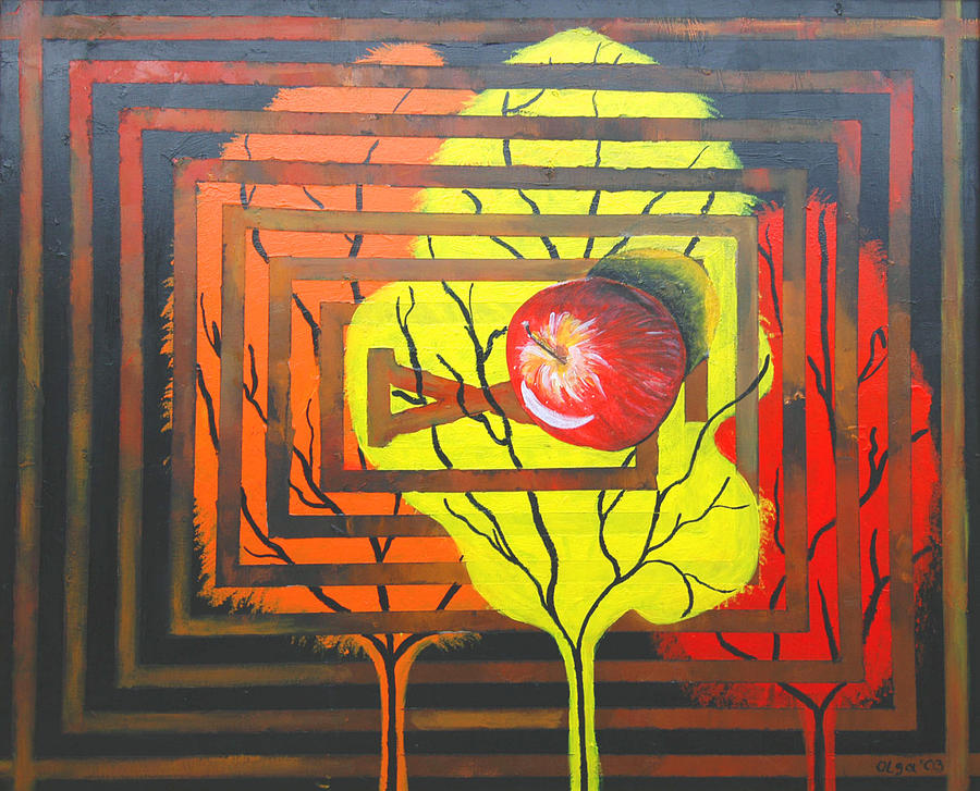 Abstract Painting - Apple by Olga Alexeeva
