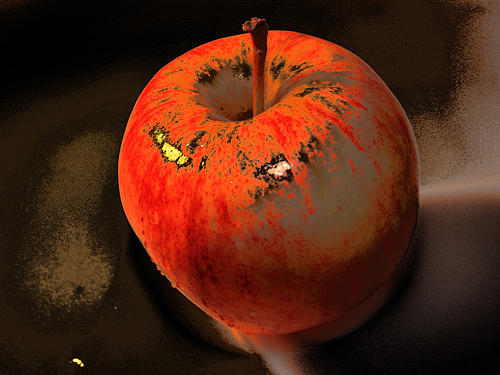 Apple On Blach Background Photograph by Lucia Timbell